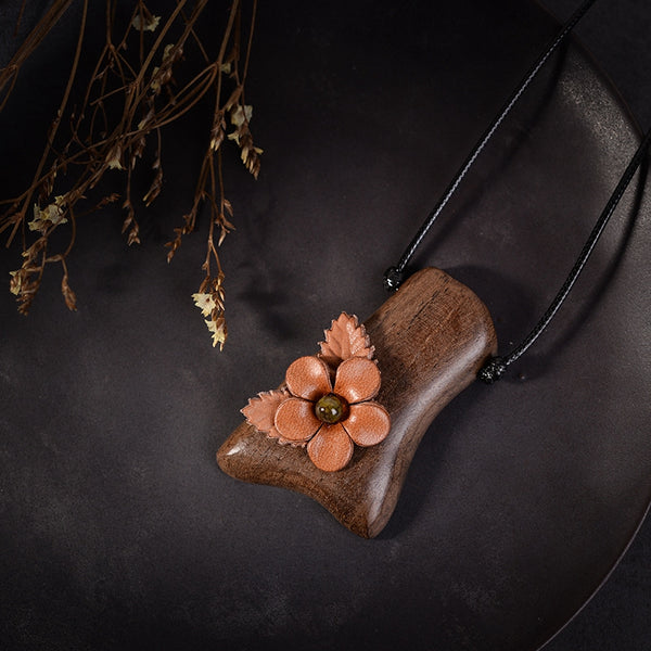 Fashion Handmade Full Gain Leather Flower Wood Long Necklaces For Women