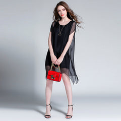 Plus Elegant Summer Dresses Loose Chiffon Clothes For Women 6987