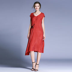 Plus Pure Color Elegant Dresses Women Loose Summer Clothes 6718