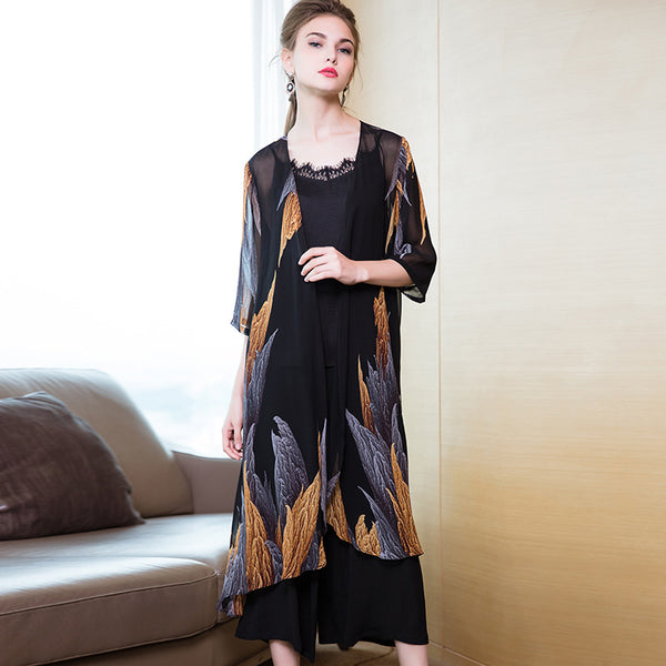 Women Vintage Three Piece Suit Loose Gallus Coat With Wide-leg Pants 8816