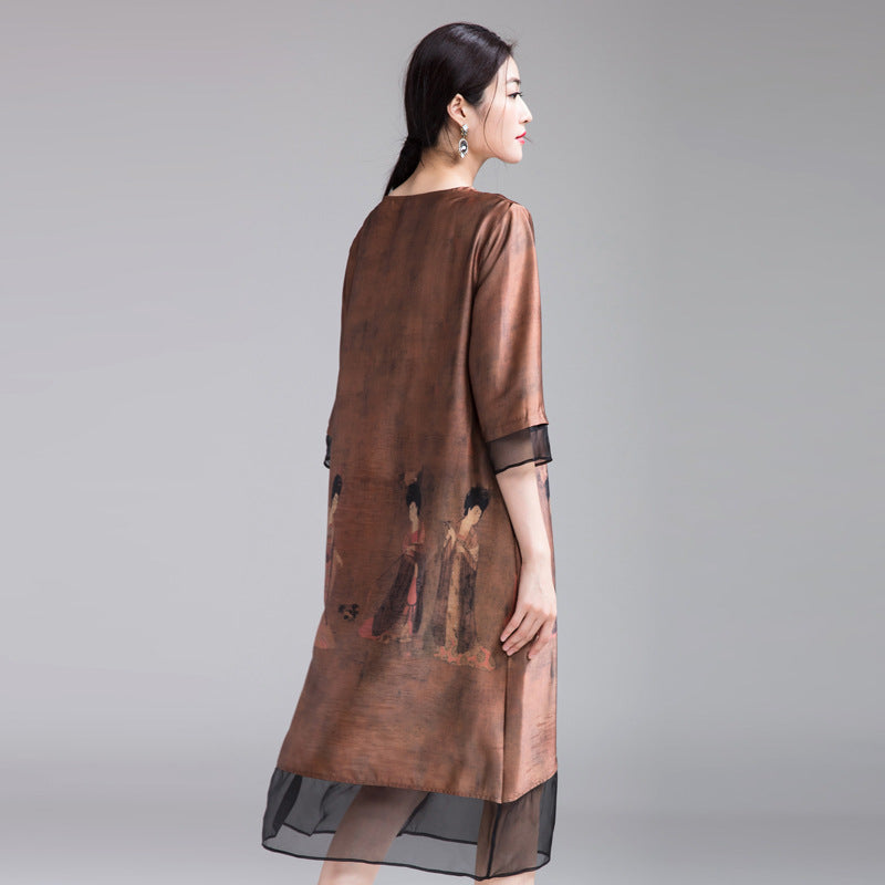 fa08394d6989 Chinese Style Coffee Quilted Loose Dresses For Women Q25022 ...