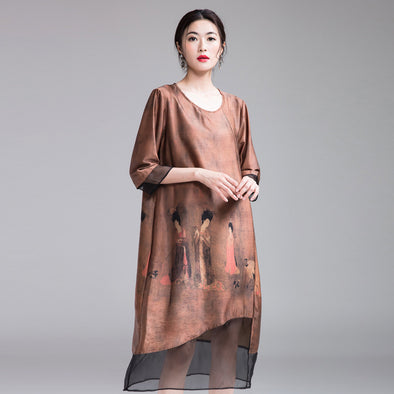 Chinese Style Coffee Quilted Loose Dresses For Women Q25022