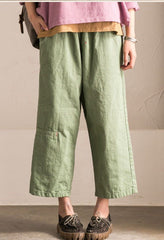 Gray/Green Cotton Wide-legged Pants Women Trousers K295BG