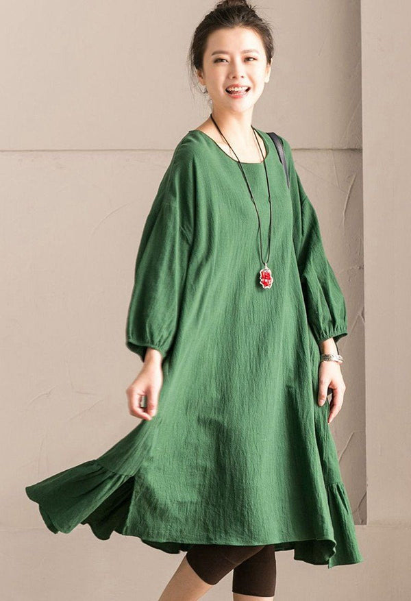 Green Korean Style Cotton Linen Falbala Bat Sleeve Round Neck Loose Women Clothes Q8300B - FantasyLinen