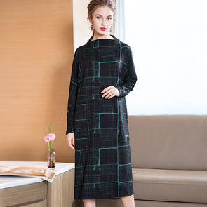 Loose Plaid Shirt Dresses Women Casual Spring Clothes Q25020