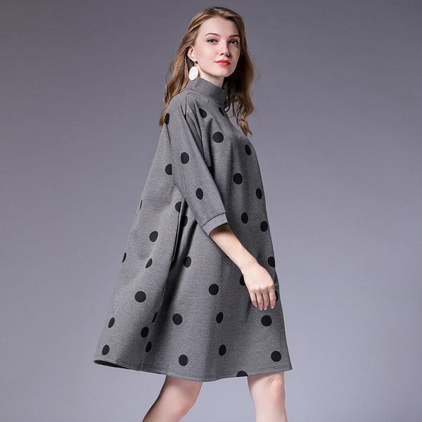 Dot Printing Stylish Plus Size Dresses For Women
