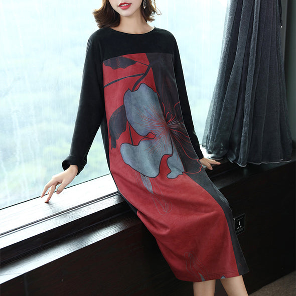Casual Black Print Flower Dresses Women Loose Clothes Q26110