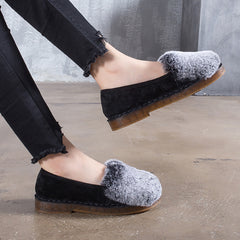 Faux Rabbit Warm Winter Mule Flats