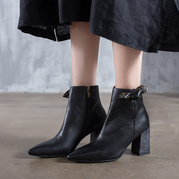 Vegan Leather Pointed Winter Boots For Women