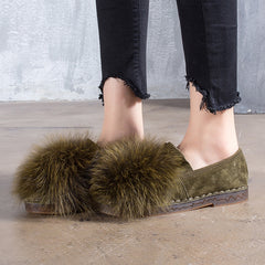 Faux Rabbit Mule Flats