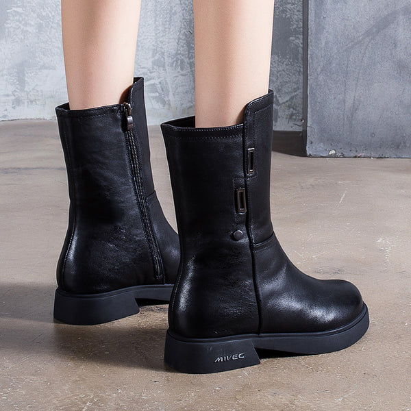 Winter Cowhide Black Boots For Women