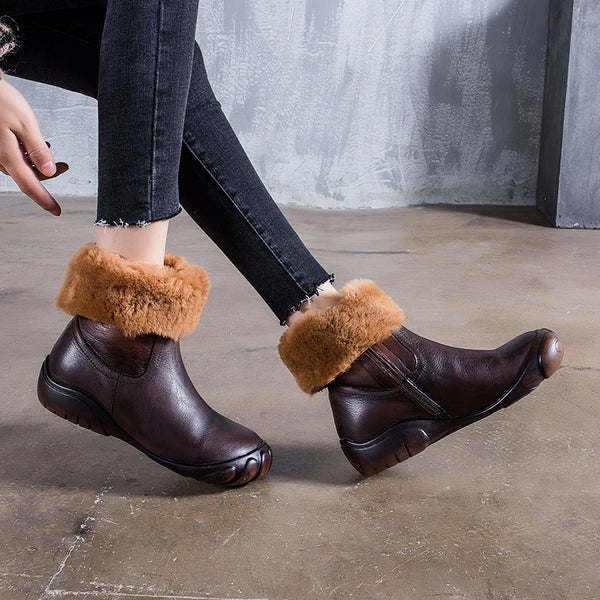 Round Head Low Heel Cotton Winter Cowhide Black Boots For Women