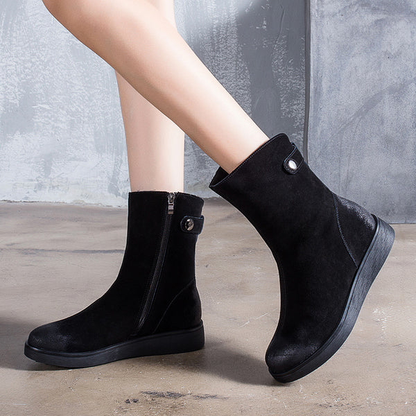 Sanded Cowhide Heel Winter Black Martin Boots For Women