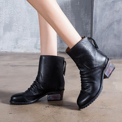 Casual Vintage Leather Round Head With Zipper Winter Boots For Women