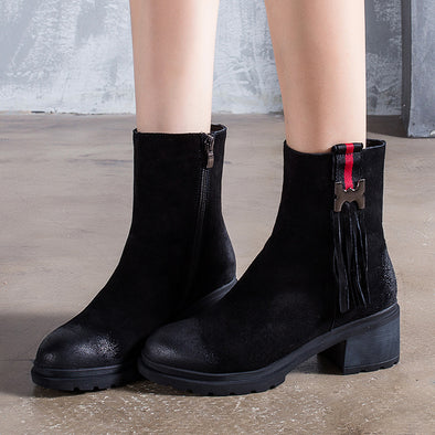 Sanding Cowhide Middle Boots Winter Black Tassel  Boots For Women