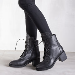 Casual Leather High Heel  Lace Shoe Winter Ankle Boots For Women