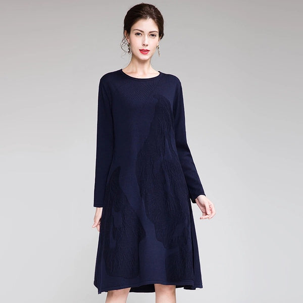 Elegant Loose Blue And Yellow Knitted Dresses For Women Q26115