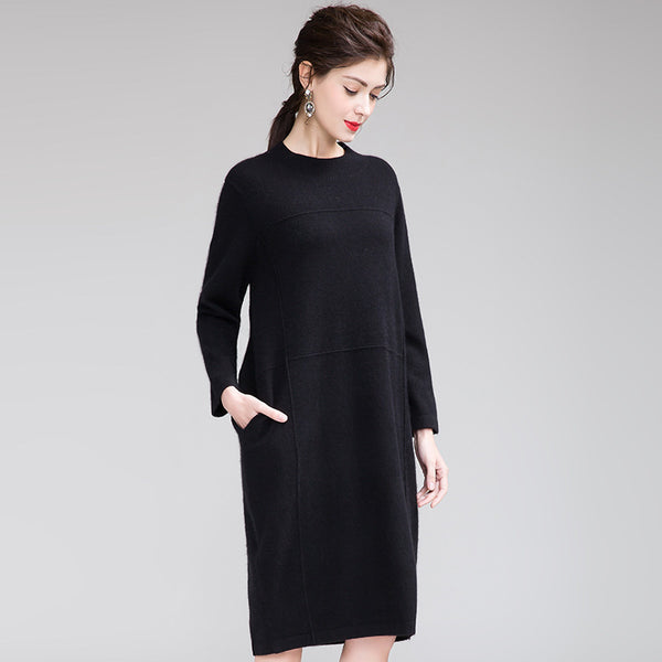 Loose Women Pure Color Base Knitted Dresses Casual Clothes Q26114