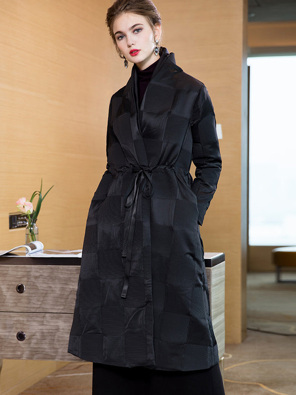 Casual Black Plaid Long Thicken Coat Women Winter Tops 5816