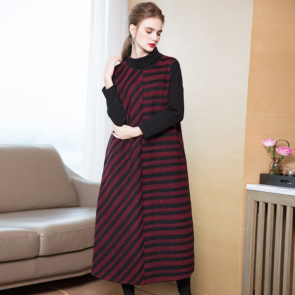 Fashion High Neck Striped A Line Maxi Dresses For Women Q26116