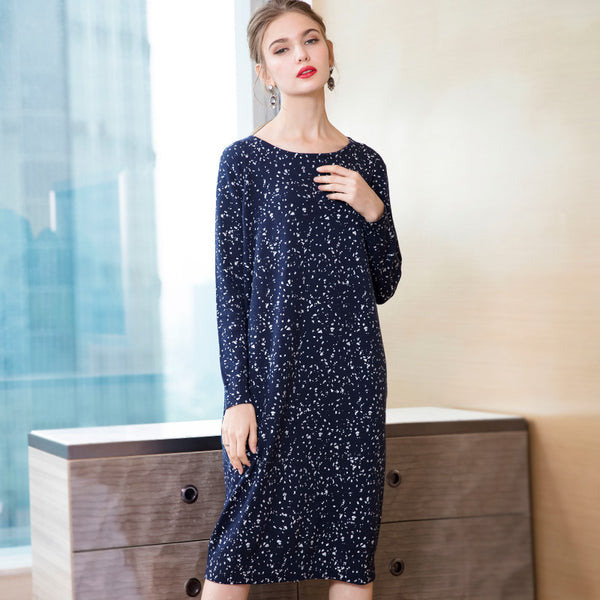 Cute Blue And Gray Knitted Base Dresses For Women Q26112