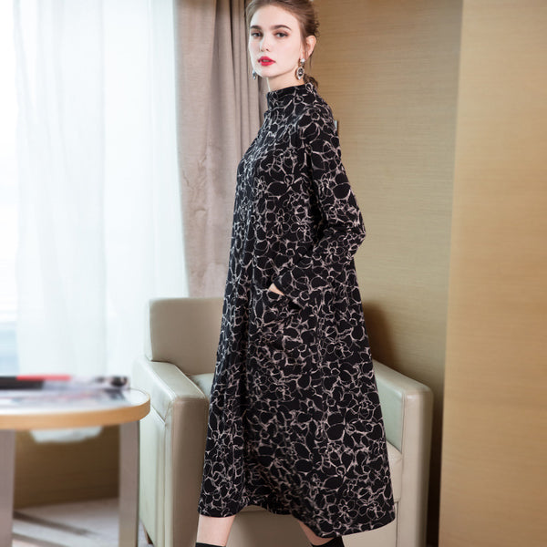 Black Vintage High Neck Print Loose Maxi Dresses For Women Q19113
