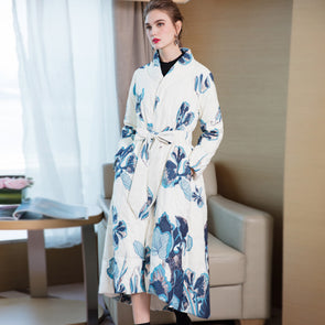 Loose Fashion Print Flower Long Down Coat Women Casual Winter Outfits 7868