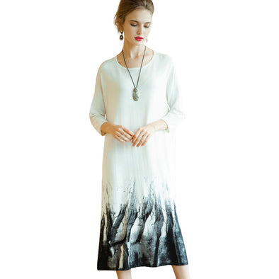 Loose 3/4 Sleeve White Print Dresses Women Casual Clothes Q19115