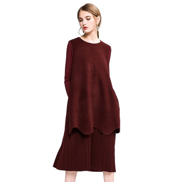 Women Elegant Loose Quilted Dresses Casual Clothes Q19114