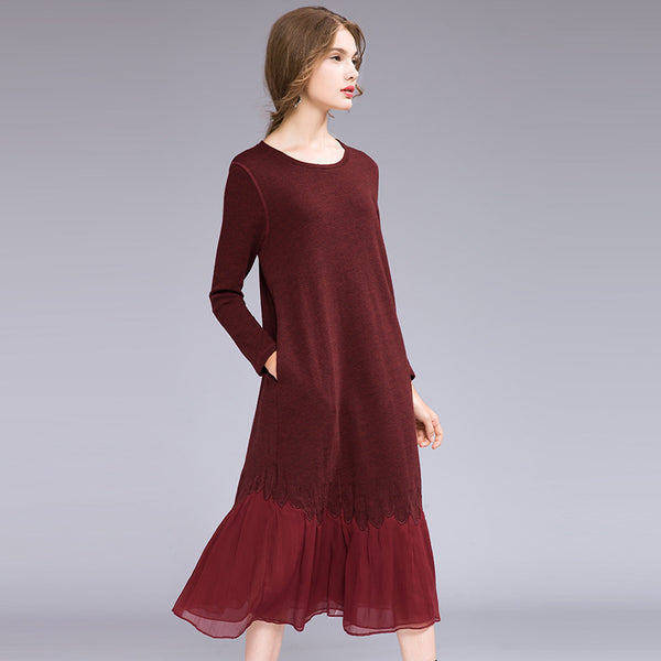 Casual Quilted Pure Color Knitted Base Wool Dresses For Women Q26111