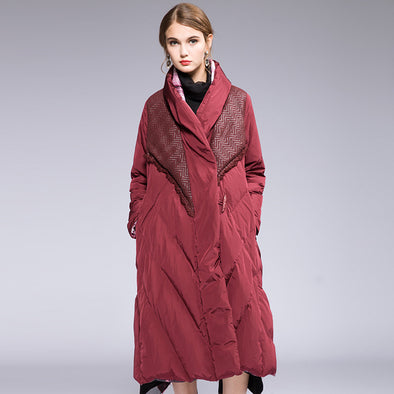 Women Vintage Red And Black Quilted Long Down Coat For Winter H701