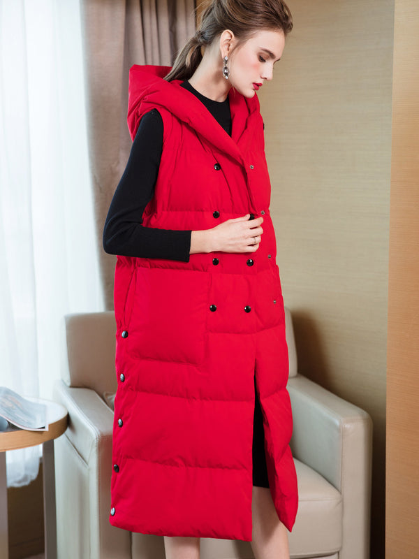 Red And Black Hoodie Long Down Waistcoat Women Winter Tops 7865