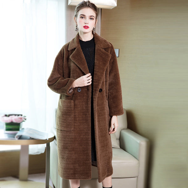 Camel Elegant Winter Overcoat Women Casual Thicken Outfits Y8825