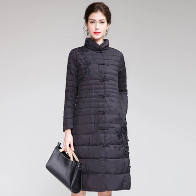 Chinese Style Fitted Long Down Coat Women Casual Winter Outfits H0002