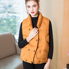 Women Fashion Pure Color Short Down Waistcoat For Winter 7837
