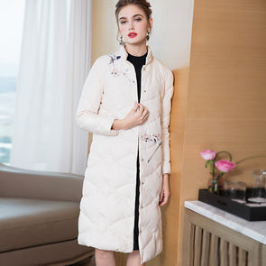 Elegant Loose Black And White Print Long Down Coat For Women 7860