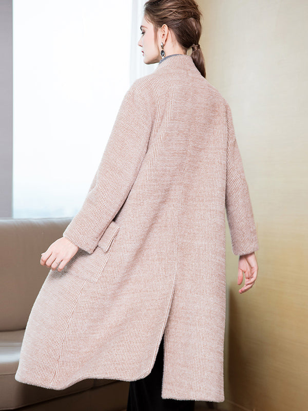 Beige Simple Loose Thicken Overcoat Women Casual Outfits Y8812