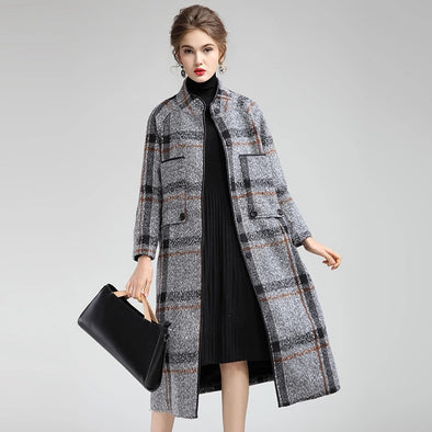Women Elegant Plaid Loose Long Woolen Coat Casual Outfits Y760