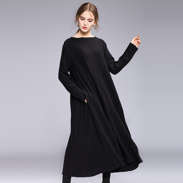 Black Elegant Plus Sweep Knitted Dresses For Women Q20110
