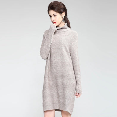 Fashion Coffee And Gray High Neck Base Dresses For Women Q19112