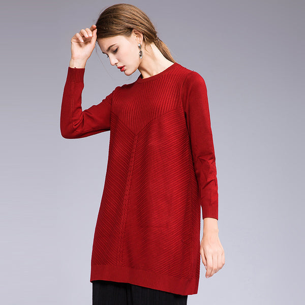 Pure Color Loose Medium Length Knitwear For Women M718