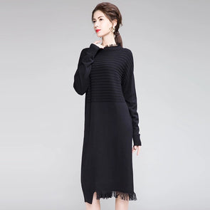 Casual Pure Color Knitted Base Dresses For Women Q19118