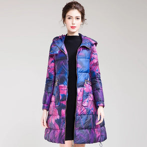Cute Purple Hoodie Fitted Long Down Coat For Women H0006