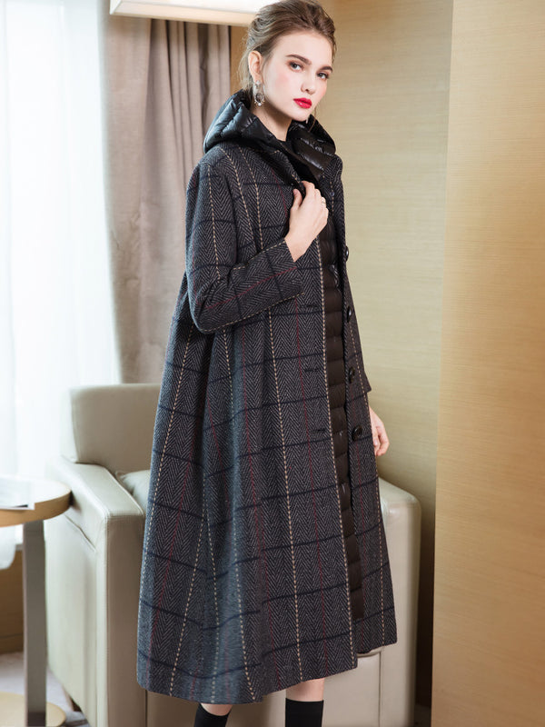 Elegant Women Two Piece Casual Plaid Overcoat With Thin Down Coat 3845-1