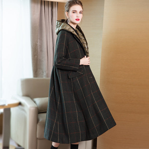 Women Fashion Casual Two Piece Loose Overcoat With Thin Down Coat 3840-1