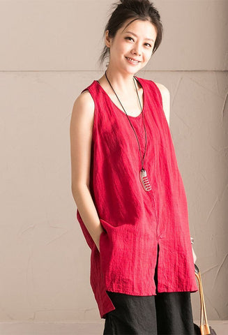 Red Cotton Linen Sleeveless Casual Long Shirt Summer and Spring For Women clothes B636B