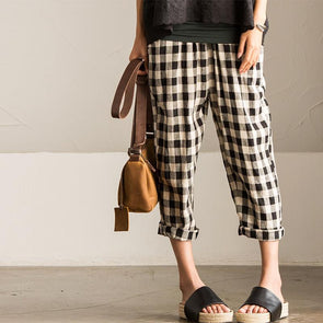 Art Casual Grid Cotton Linen Trouser Women Pants K601A - FantasyLinen