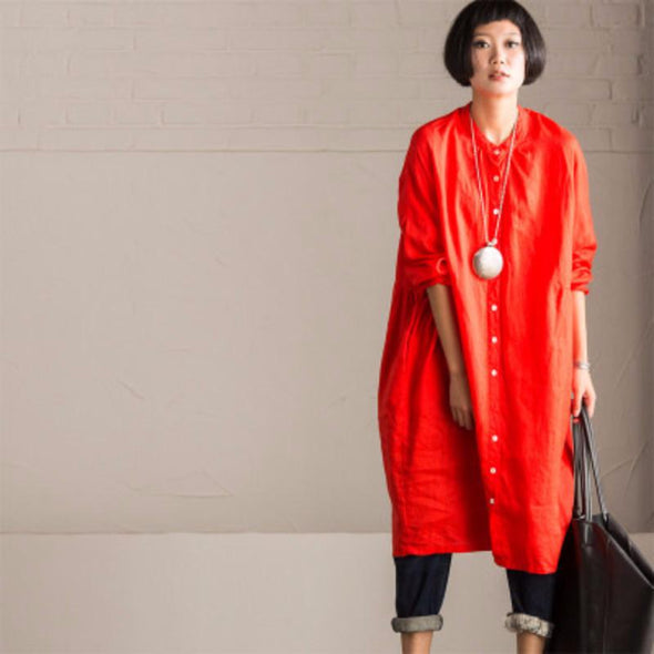 Art Casual Loose Big Size Long Linen Dress Shirt Women Tops C8923A - FantasyLinen