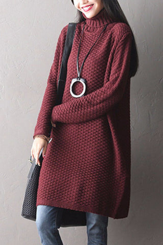 Art Casual Loose Wool Big Size Bat Sleeve Sweater Dress Women Clothes