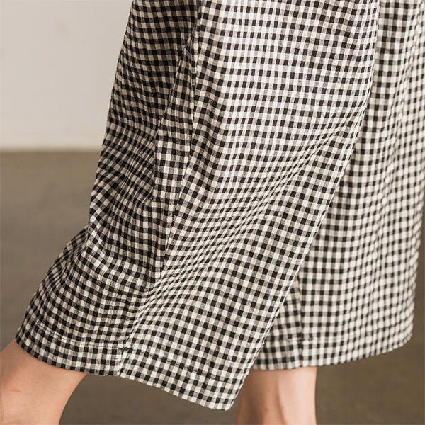 Art Causel Black White Grid Wide-legged Pants Linen Causel Women Clothes K988A  - FantasyLinen